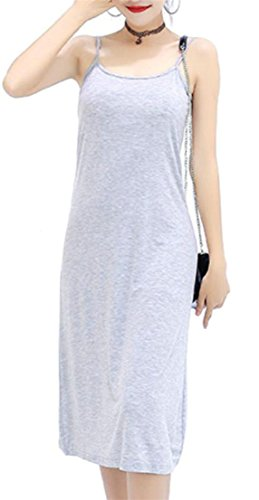 Tank Midi Summer Women's Cromoncent Spaghetti Grey Top Strap Light Modal Sleeveless Dress 8pdYw5q