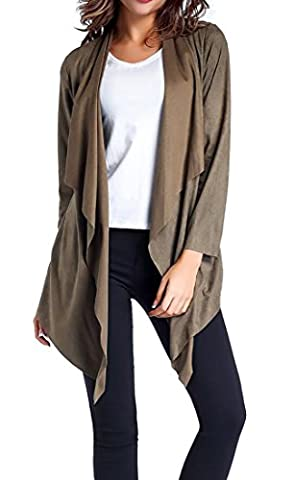 UUYUK Womens Open Front Asymmetrical Hem Faux Suede Overcoat Cardigan Armygreen US M - Faux Suede Blazer