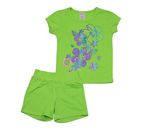 French Short Terry Set - S.W.A.K Kids Little Girls 2 Piece Cotton Blend Printed Crewneck Shirt and French Terry Shorts Set Lime 4