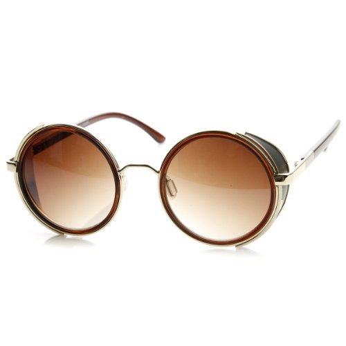 ccbc3a8d5a1 zeroUV - Studio Cover Metal Frame Side Shield Round Sunglasses (Brown-Gold)  - Buy Online in Oman.