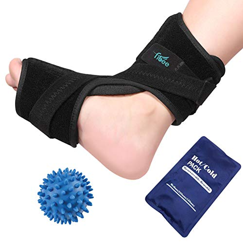 Plantar Fasciitis Night Splint for Women & Men Sleep Support, Adjustable Foot Drop Orthotic Brace for Relief Plantar Fasciitis, Heel, Arch Foot Pain, with Hot Cold Gel Ice Pack and Massage Ball