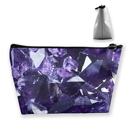 Makeup Bag Cosmetic Crystal Purple Diamond Portable Cosmetic Bag Mobile Trapezoidal Storage Bag Travel Bags with Zipper