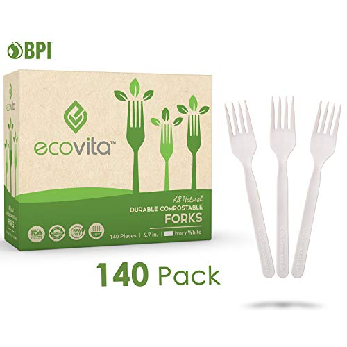 100% Compostable Forks - 140 Large Disposable Utensils (7 in.) Eco Friendly Durable and Heat Resistant Plastic Forks Alternative with Convenient Tray by Ecovita