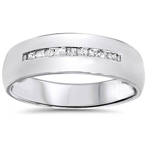 Mens 5.5mm 1/6ct Princess Cut Diamond Wedding Ring 10K White Gold - Size 10.5 ()