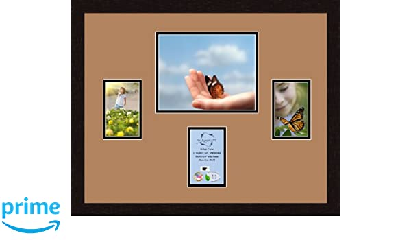 ArtToFrames 1.25-Inch Espresso Picture Frame with 4 Openings of 6 by 8-Inch and a Octoberfest Top Mat and Black Bottom Mat