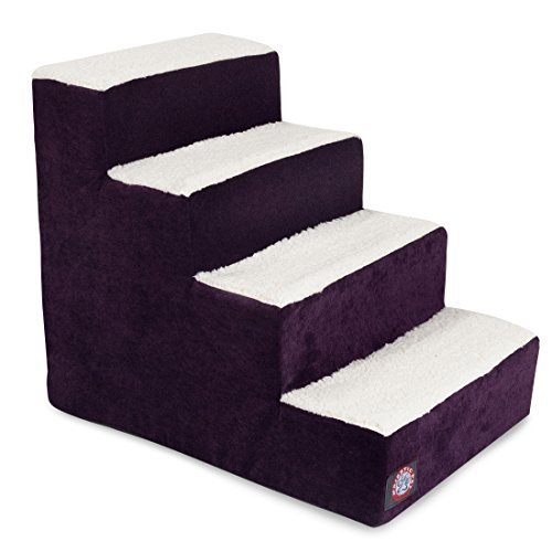 4 Step Portable Pet Stairs By Majestic Pet Products Villa Aubergine Steps for Cats and Dogs Purple (Bed Portable Pet Folding)
