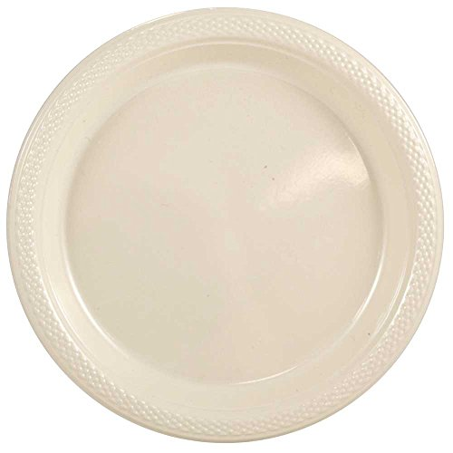 (JAM PAPER Round Plastic Party Plates - Small - 7 inch - Ivory - 200/Box)