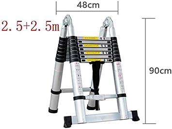 WLG Escalera de mano, 1.6 + 1.6M Escalera telescópica multifunción Escalera plegable portátil de aleación de aluminio Diy En131 Capacidad de carga 330 lb / 150 kg,2,5 + 2,5 m: Amazon.es: Bricolaje y herramientas