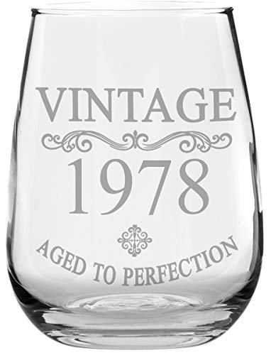 Birthday Stemless Wine Glass - Vintage - Aged to Perfection - Makes a Great Birthday Gift! (1978) (Wine Chardonnay Gift)