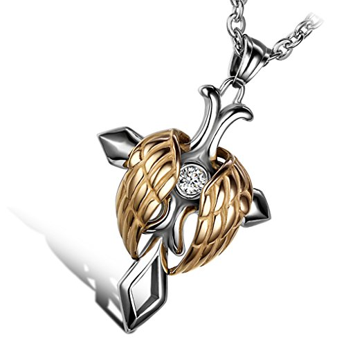 Cupimatch Mens Women Silver Gold Tone Stainless Steel Religious Angel Wing Cross Pendant Necklace, 22 Inch Chain ()