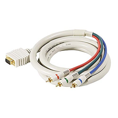 50' FT SVGA to RGB Component Video Cable HD-15 3-RCA Male Cable Python D-Sub HDTV Gold Component RGB Ivory 24 K Gold Plate Color Coded Double Shielded