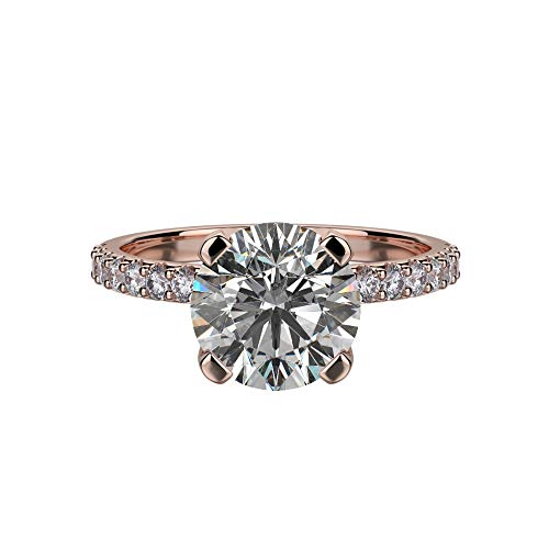 NaNa Silver 8.0mm (2ct) Round Cut Zirconia Solitaire Engagement Ring-Rose Gold Plated-Size 6