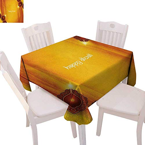 (BlountDecor Diwali Printed Tablecloth Curtain Like Tribal Inspired Backdrop with Wooden Oriental Style Carving Framework Print Flannel Tablecloth 60
