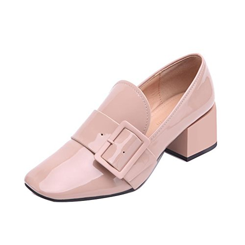 Ladola Womens Square-Toe Solid Waterproof Low-Cut Uppers Metal Buckles Pink Microfiber Pumps Shoes - 7 B(M) - Official Uk Pink Website