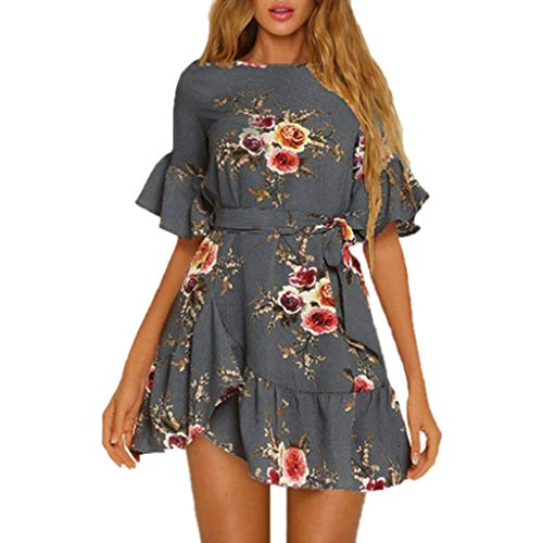 Evening Party Dress for Women Summer Ruffles Floral Printing Short Sleeve Dress Gray