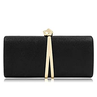 Women's Clutches Glitter Evening Bag Bridal Cocktail Clutch Bling Purse Metallic Handbags for Wedding Party (Black)