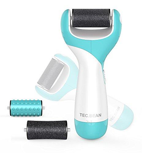 Elektronische Fußfeile Pediküre Hornhaut Entferner für trockene und abgestorbene Haut samt 2 Bimsstein-Rollern und Massage-Köpfen