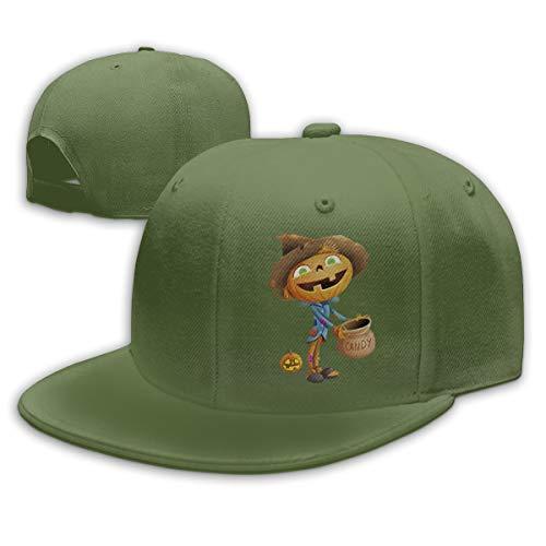 Sakanpo Halloween Scarecrow Flat Visor Baseball Cap, Designed Snapback Hat Moss Green