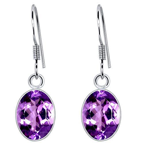 3.25 Ct Purple Amethyst Gemstone Birthstone 925 Sterling Silver Dangle Earrings Oval Drop 9x7mm For Women ()