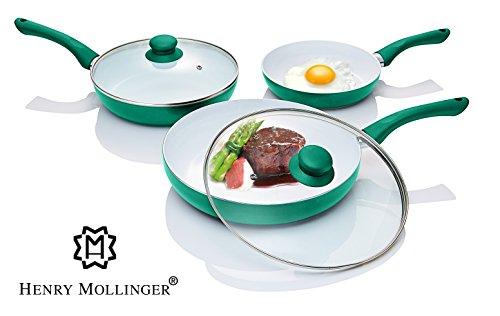 Original Henry Mollinger Keramik Pfannen Set 5-tlg. Induktionsgeeignet grün