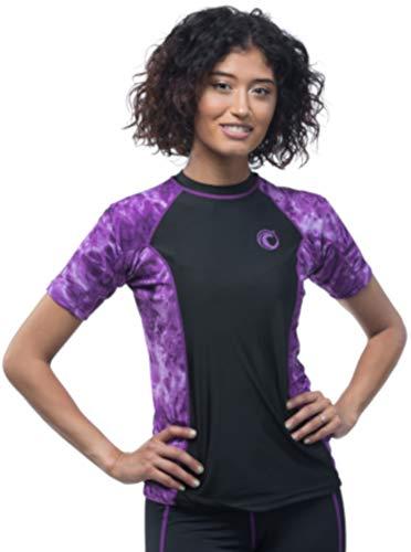 Aqua Design Women Short Sleeve Big Wave Surf Comfort Fit Rash Guard Swim Athletic UPF 50+ Shirt, Liquid Purple/Black, Size 5XL