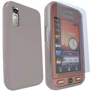 ONX3 Samsung S5230 Tocco Lite Gris protección de la piel del gel + LCD Protector de pantalla
