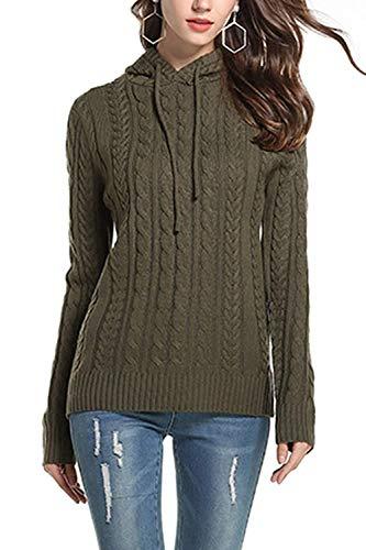 Color Medium Sudadera Gris Verde tamaño Jersey Invierno con Twist Tejido de  Mujer HhGold Punto Capucha ... 000fdebf1c0a