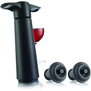 The Original Vacu Vin Wine Saver with 2 Vacuum Stoppers - Black