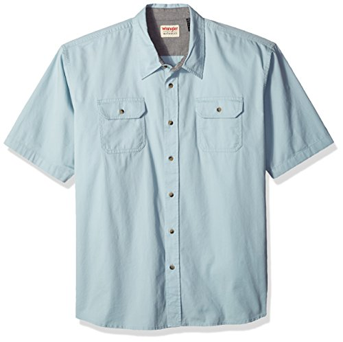 Wrangler Authentics Men's Big-Tall Short Sleeve Classic Twill Shirt, Sterling Blue, - Shirt Wrangler Twill Blue
