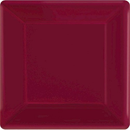 "Amscan Party Ready Disposable Square Dinner Plates Tableware, Berry, 20 Pieces, Made from Paper, Berry, 10"" - By"