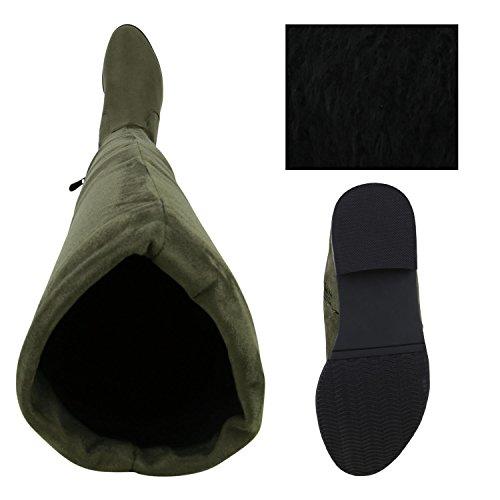 Stiefelparadies Damen Stiefel Overknees mit Blockabsatz Gefüttert Flandell Dunkelgrün Grün