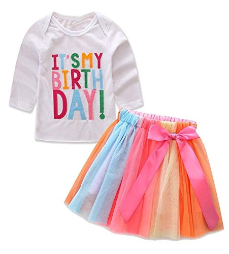 Baby Little Girls Letters T-Shirt + Colorful Rainbow Skirts Birthday Gift Outfits Set (White B, 3-4 T) ()
