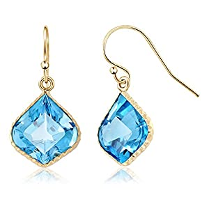 14.00 Ctw Lotus Shape Swiss Blue Topaz 14K Yellow Gold Earrings