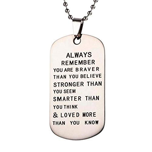 Windoson Dog Tag Necklace to My Son Letters Printed Military Fathers Day Family Love Stainless Steel Kids Gift (E) - Modern Dog Tag Pendant