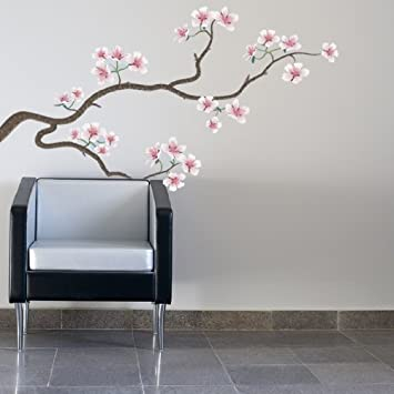 HDS7   LARGE MOVABLE JAPANESE CHERRY TREE WALL DECAL. REPOSITIONABLE HOME  WALL STICKERS. Brighten Up Any Room With This Floral Wall Sticker:  Amazon.co.uk: ...