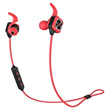 MonkeyJack Bluetooth Headphones, Wireless Sports Earphones with Mic HD Stereo Sweatproof In Ear Earbuds for Gym Running Workout 8 Hour Battery Noise Cancelling Headsets - red, as described