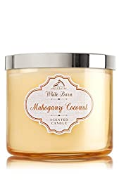 Bath & Body Works White Barn 3-Wick Candle in Mahogany Coconut (14.5oz) (Pack of 2)