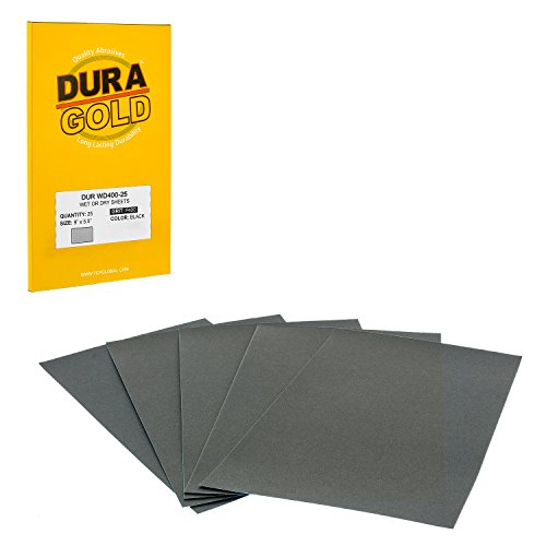 Dura-Gold - Premium - Wet or Dry - 400 Grit - Professional cut to 5-1/2 x 9 Sheets - Color Sanding and Polishing for Automotive and Woodworking - Box of 25 Sandpaper Finishing Sheets