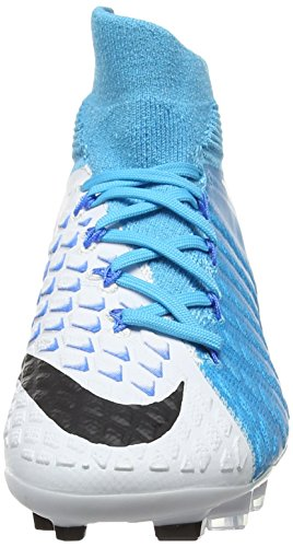 Nike Jr Hypervenom Phantom Iii Df Fg, Zapatillas de Fútbol Unisex Niños Azul (White/black-photo Blue-chlorine Blue)
