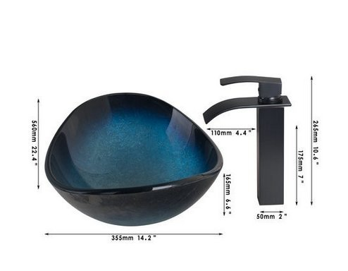 GOWE Bathroom Sink Washbasin Tempered Glass Hand-Painted+Black Waterfall Sink Tap Lavatory Bath Brass Set Faucet,Mixer Tap 1
