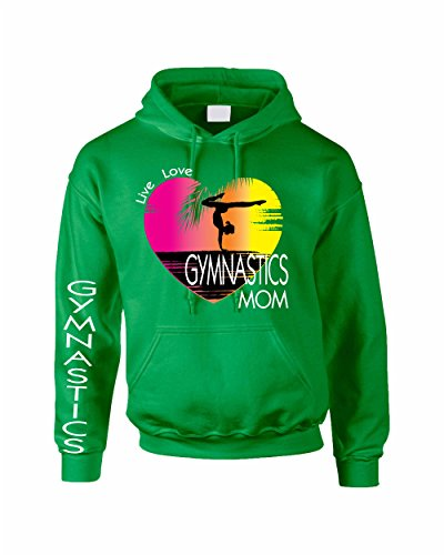 Allntrends Adult Hoodie Sweatshirt Gymnastics Mom Pink Print Gym Top (M, Irish ()
