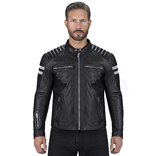 Viking Cycle Bloodaxe Premium Grade Cowhide Leather Motorcycle Jacket for Men (3XL) Black