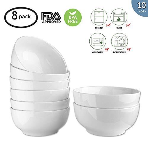 Cream Cereal Bowl - 10-Ounce Porcelain Bowl Set,Soup Bowl Set,Dinner Set for Cereal, Soup 8 Packs,White,4.5 Inch