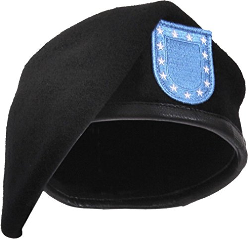 Black Military Inspection Ready Wool Beret With (Cobra Caps Cotton Headband)