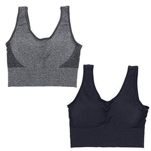- Delta Burke Intimates Women's Queen Size Seamless Comfort Bra Set (2X, Black & Grey)