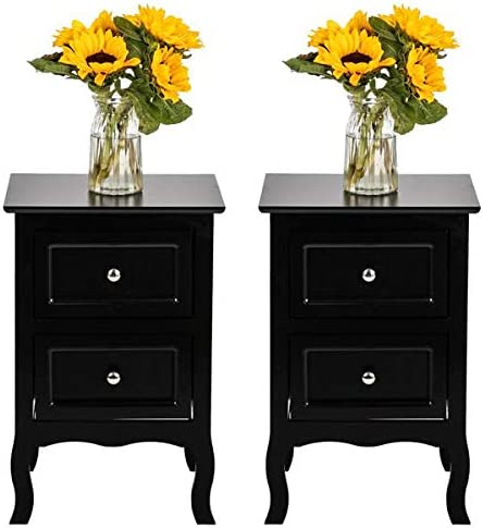Binrrio End Table Bedroom Night Stand Country Style Two-Tier Night Tables