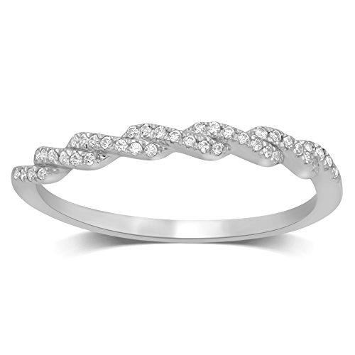 Diamond Jewel 10K White Gold 1/10 ctw Diamond (I-J Color, I2 Clarity) Stackable Twist Fashion Band by Diamond Jewel