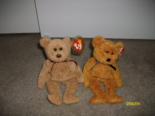 - Set of 2 Bear Beanie Baby's-Fuzz and Curly by Ty