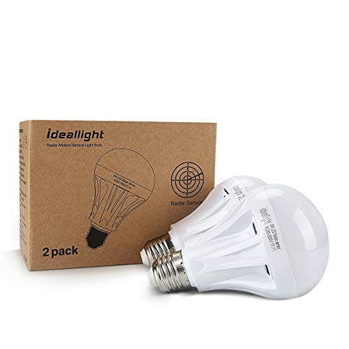 Motion Sensor Light Bulb Radar Motion Activated LED Bulb Dusk to Dawn E26/E27 Auto On/Off Indoor/Outdoor Movement Detector Night Light for Front Door Hallway Stairs Basement Patio Porch Garage
