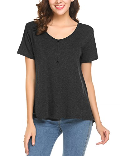 Button Up Cotton Henley - Yhlovg Sexy Women's Low Cut Henley Button Up Short Sleeve Stretchy Tee Shirt Top